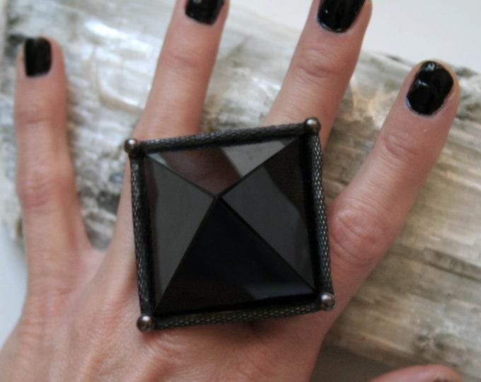 Large Black Obsidian Pyramid Crystal Ring // Large Black Obsidian Pyramid Adjustable Ring