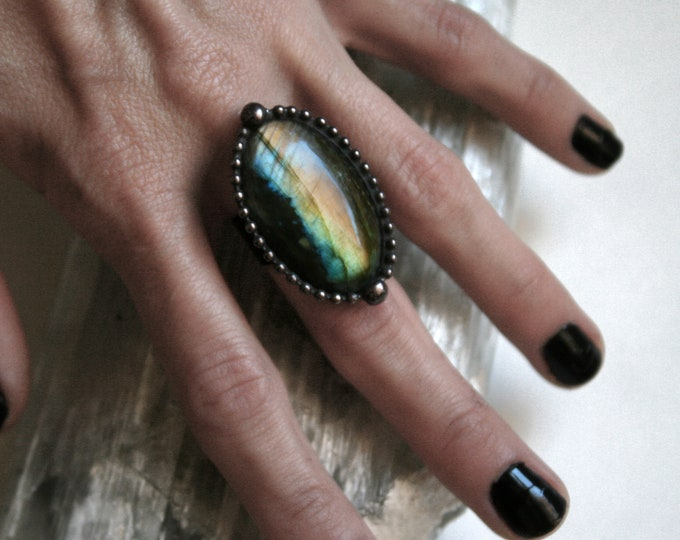 Large Rainbow Labradorite Oval Ring // Labradorite Adjustable Ring