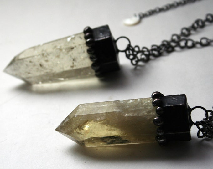 Massive Citrine Tower Necklace // Citrine Crystal Point Necklace // Citrine Crystal Layering Necklace