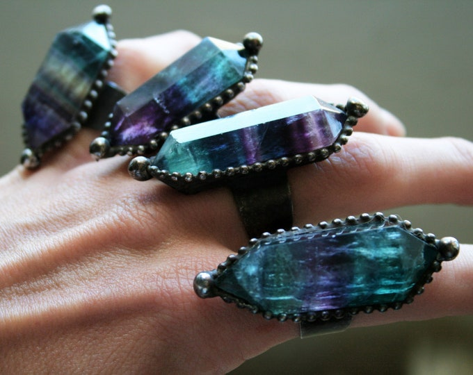 Large Double Terminated Fluorite Crystal Ring // Large Fluorite Adjustable Ring