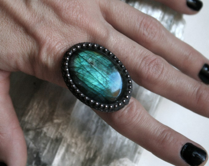 Aqua Labradorite Teardrop Ring // Blue Labradorite Adjustable Ring