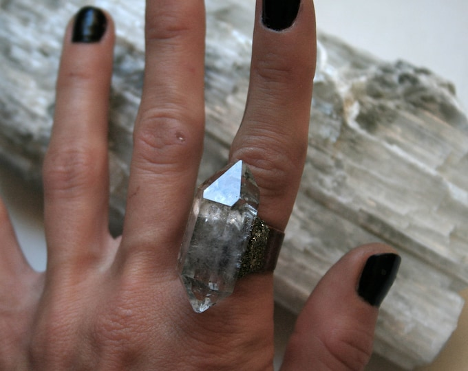 Tibetan Clear Quartz Crystal Ring // Double Terminated Clear White Crystal Adjustable Size Ring with Pyrite