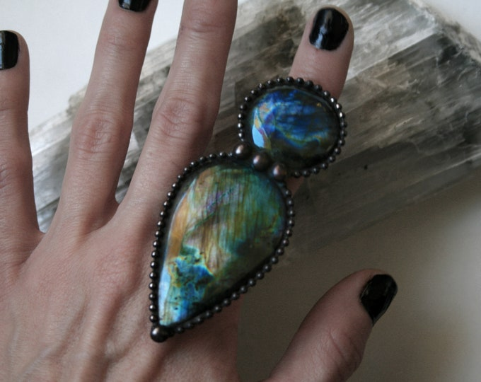 Massive Labradorite Petal Ring // Rainbow Labradorite Adjustable Ring