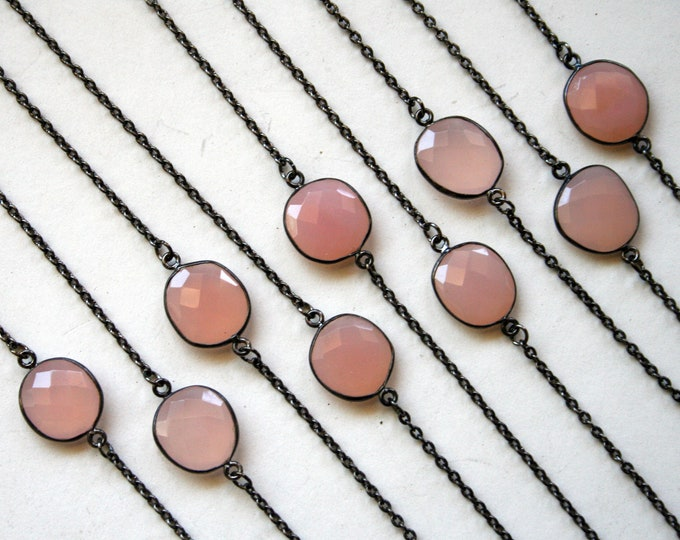 Petite Rose Quartz Gunmetal Necklace // Minimal Rose Quartz Layering Necklace