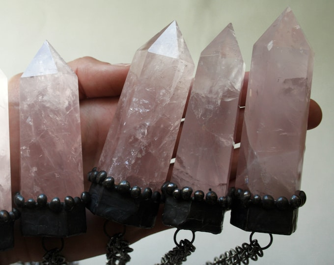 Massive Rose Quartz Crystal Tower Necklace // Natural Rose Quartz Point Necklace // Rose Quartz Obelisk Necklace