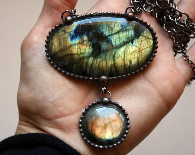 Massive Rainbow Labradorite Necklace // Gold Rainbow Labradorite Statement Necklace