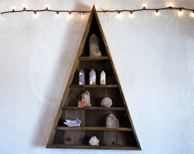 Triangle Curiosity Cabinet - Extra Large  // Reclaimed Wood Pyramid Shelving // Geometric Crystal Display