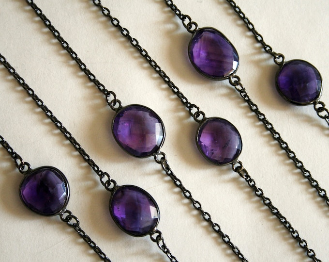 Petite Amethyst Gunmetal Necklace // Minimal Purple Amethyst Layering Necklace
