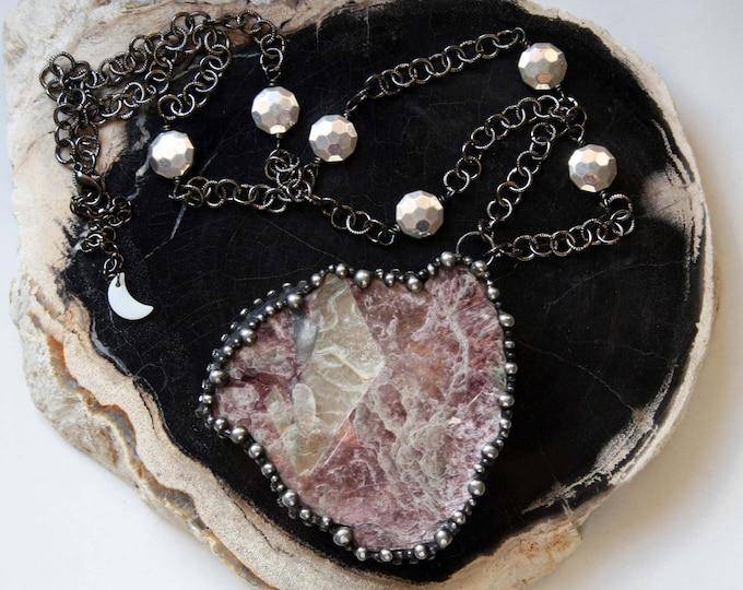 Massive Lepidolite Mica Slab Crystal Necklace // Lepidolite and Statement Necklace
