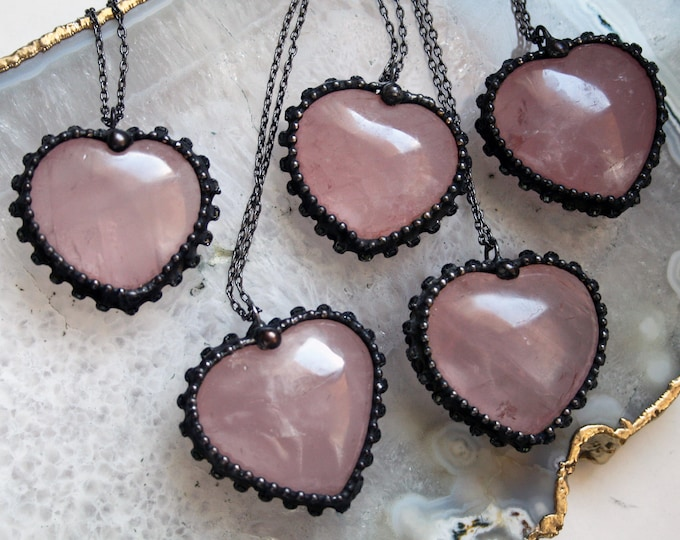 Large Rose Quartz Heart Necklace