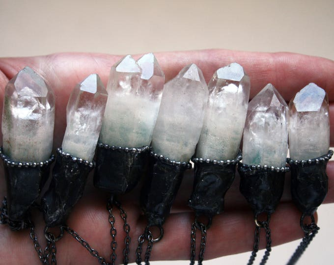 Terminated Quartz Crystal with Green Inclusions Necklace