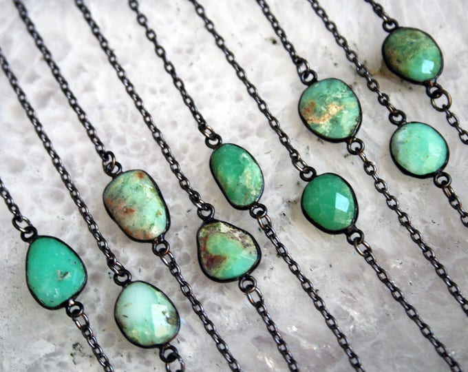 Petite Australian Chrysoprase Gunmetal Necklace // Minimal Green Chrysoprase Layering Necklace
