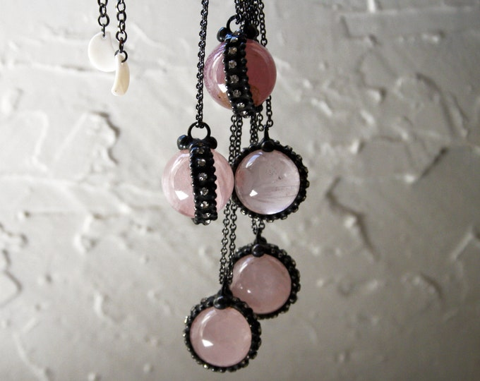 Small Rose Quartz Crystal Ball Necklace // Round Rose Quartz Layering Necklace // Rose Quartz Sphere Necklace
