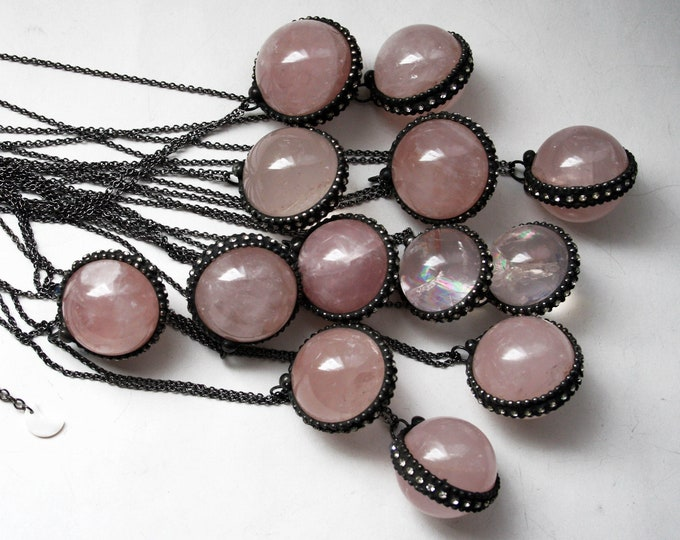 Rose Quartz Crystal Ball Necklace // Round Rose Quartz Layering Necklace // Rose Quartz Sphere Necklace