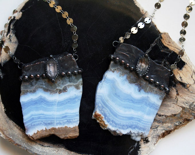 Massive Blue Lace Agate Slab and Tibetan Quartz Crystal Necklace // Raw Blue Lace Agate Slab and Tibetan Quartz Crystal Necklace