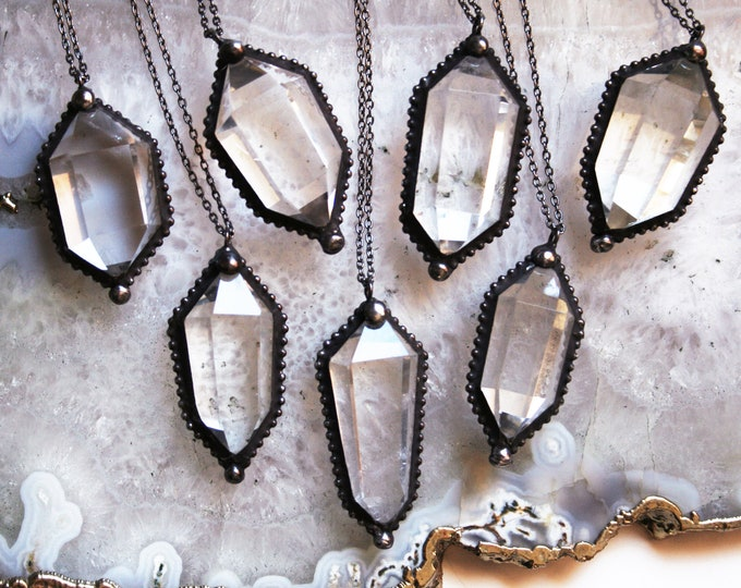Clear Quartz Double Terminated Crystal Necklace // Water Clear Quartz Crystal Double Point Necklace