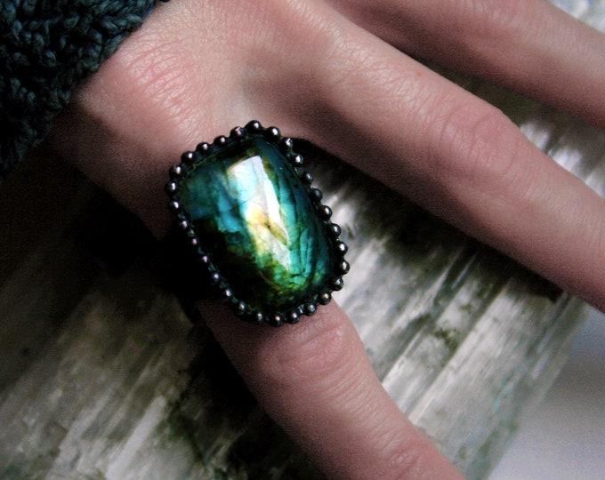 Rainbow Blue Gold Labradorite Ring // Yellow Gold Blue Aqua Rainbow Labradorite Rectangle Adjustable Ring