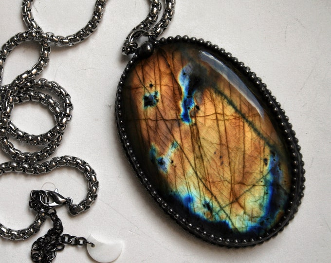 Massive Rainbow Labradorite Necklace // Blue and Gold Labradorite Statement Necklace