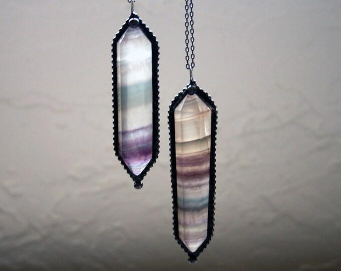 Large Rainbow Fluorite Double Terminated Necklace