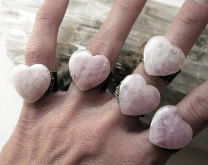 Rose Quartz Heart Crystal Ring // Heart Rose Quartz Crystal Adjustable Size Ring with Pyrite