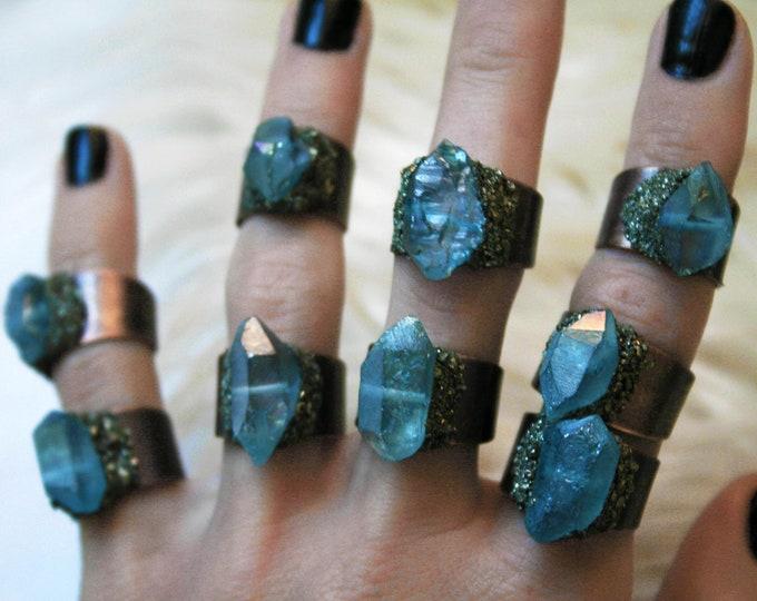Aqua Aura Quartz Crystal Ring // Light Blue Iridescent Crystal Adjustable Size Ring with Pyrite