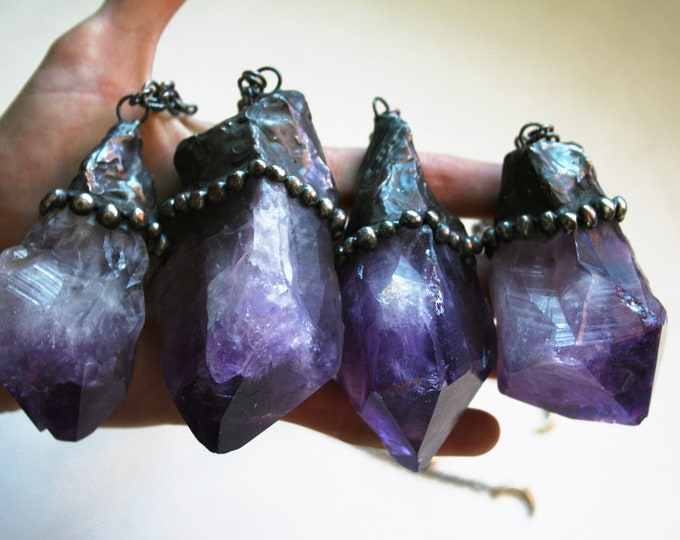 Massive Amethyst Point Necklace // Extra Large Raw Natural Amethyst Point Statement Layering Necklace