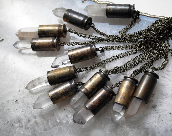 45 AUTO Quartz Crystal Brass Bullet Necklace // 45 Caliber White Clear Quartz Point Brass Bullet Shell // Bullet Casing Necklace