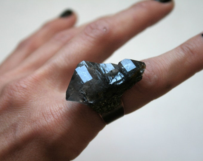Tibetan Quartz Smoky Elestial Scepter Crystal Ring // Terminated Crystal Adjustable Ring // Crystal Cluster Ring with Pyrite