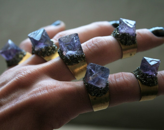 Purple Fluorite Octahedron Crystal Brass Ring // Raw Fluorite Octahedron Adjustable Size Ring with Pyrite
