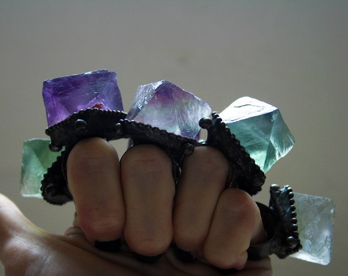 Massive Fluorite Octahedron Ring // Large Purple Smoky Green Fluorite Statement Ring