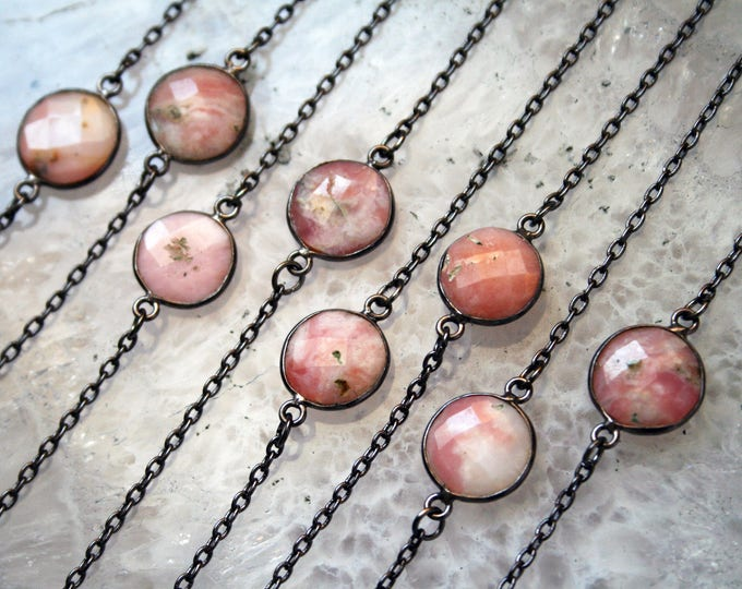 Petite Pink Opal Gunmetal Necklace