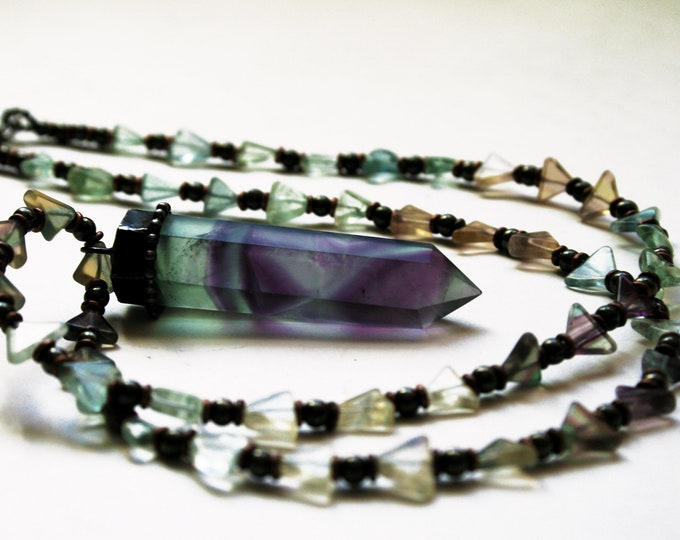 Purple Green Fluorite Tower Rainbow Triangle Beaded Necklace // Purple Green Fluorite Crystal Beaded Necklace