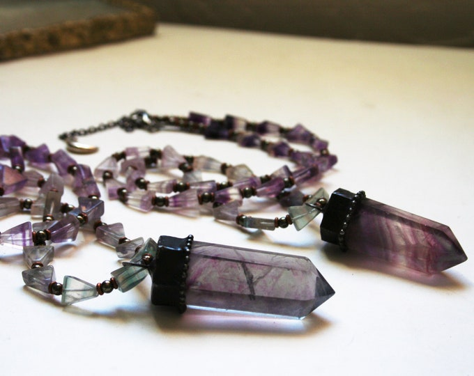 Purple Fluorite Tower Rainbow Triangle Beaded Necklace // Medium Purple Fluorite Crystal Beaded Necklace
