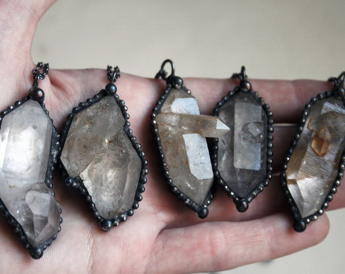 Double Terminated Tibetan Quartz Crystal Cluster Necklace