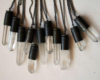 Clear Quartz 45 Auto Gunmetal Bullet Crystal Necklace // Clear White Quartz 45 Caliber Bullet Shell Necklace