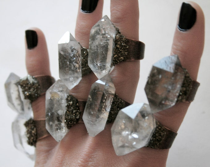 Tibetan Clear Quartz Crystal Ring - Large Size Crystal // Double Terminated Clear White Crystal Adjustable Size Ring with Pyrite