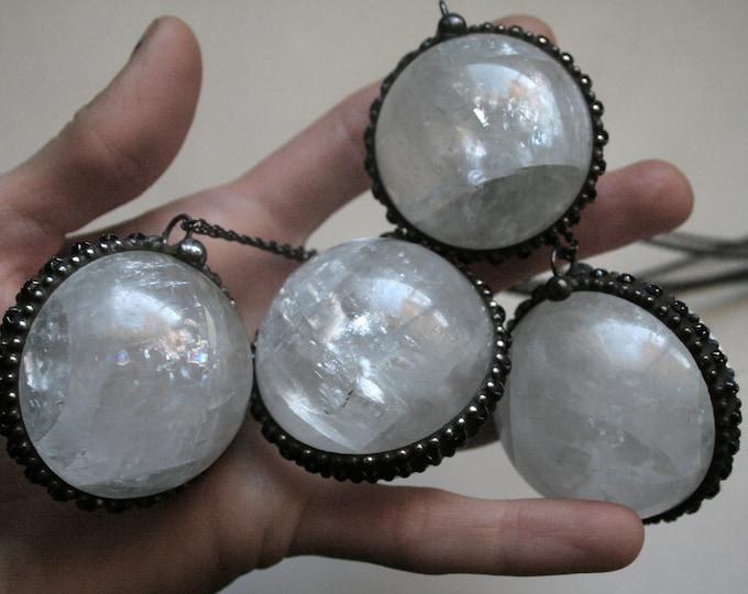 Massive Crystal Ball Necklace // Round Quartz Layering Necklace // Clear White Quartz Sphere Necklace