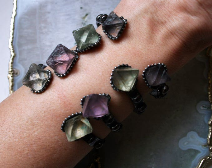 Rainbow Fluorite Cuff Bracelet // Skinny Adjustable Cuff Bracelet with Fluorite Octahedron Stones