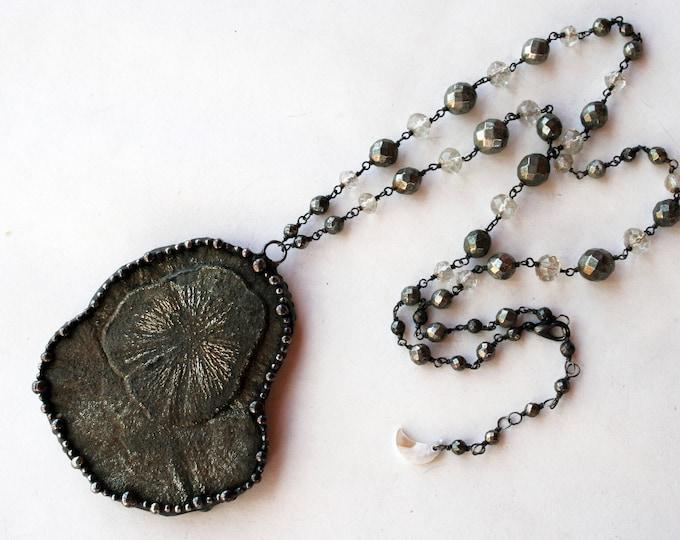 Large Pyrite Sun Necklace
