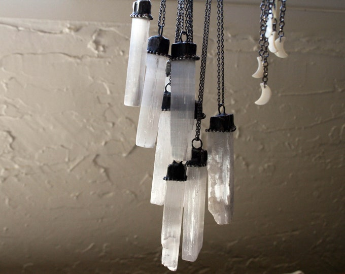 Selenite Raw Crystal Necklace // White Selenite Rod Crystal Necklace