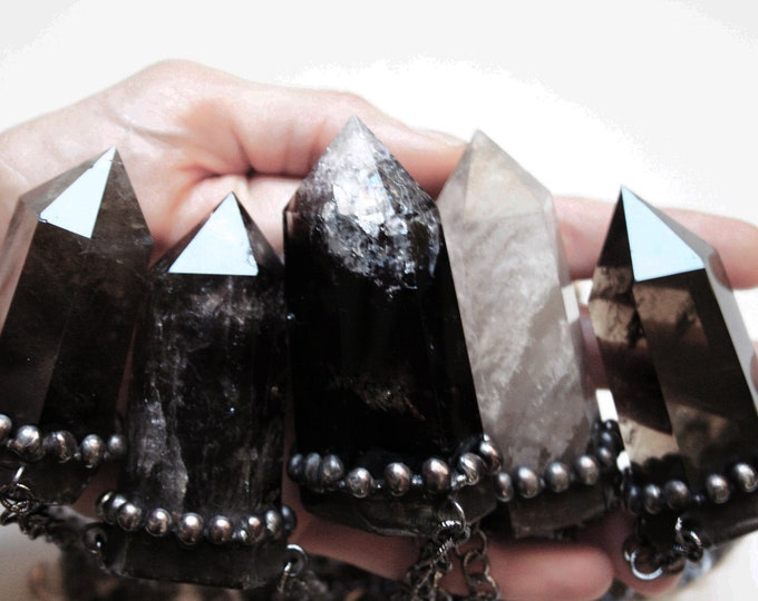 Massive Smoky Quartz Crystal Tower Necklace // Natural Smoky Quartz Point Necklace // Smoky Quartz Obelisk Necklace