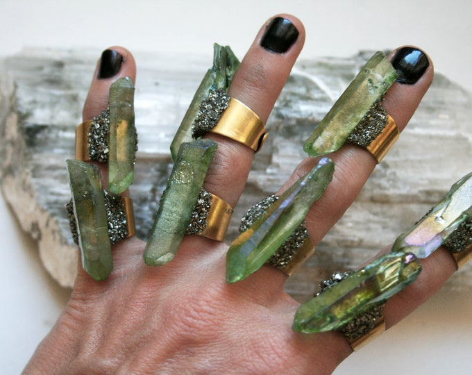 Lime Green Aura Quartz Crystal Ring // Spring Green Crystal Adjustable Size Ring with Pyrite