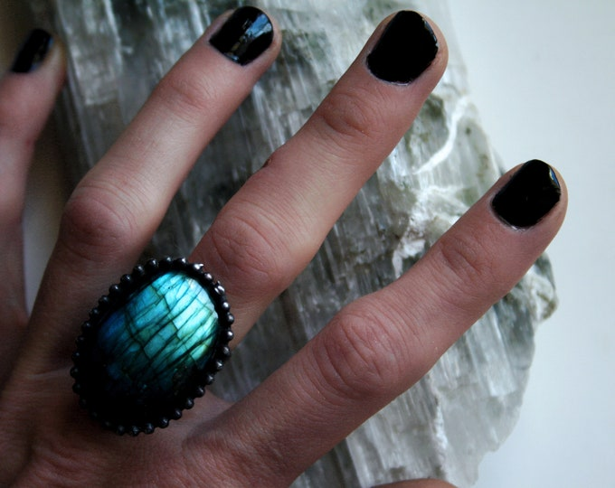 Aqua Labradorite Round Ring // Blue Gold Rainbow Labradorite Round Adjustable Ring
