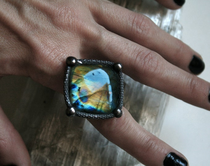 Large Rainbow Labradorite Diamond Ring // Labradorite Adjustable Ring