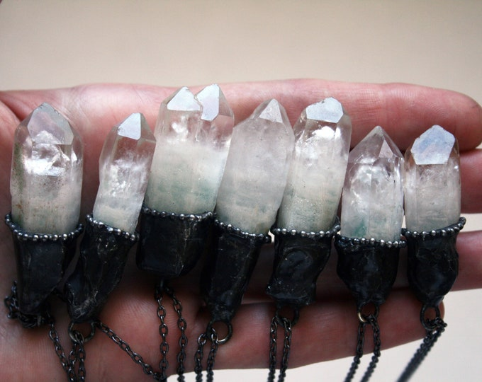 Terminated Quartz Crystal with Green Inclusions Necklace // Minimal Clear Quartz Layering Necklace