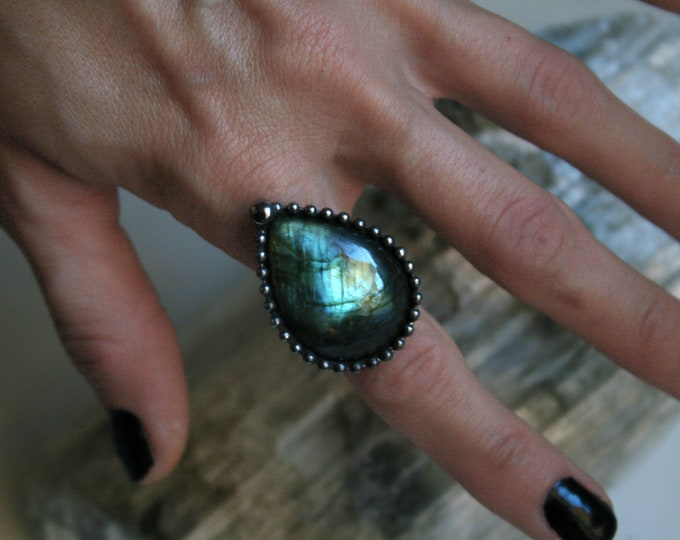 Blue Labradorite Teardrop Ring // Labradorite Adjustable Ring