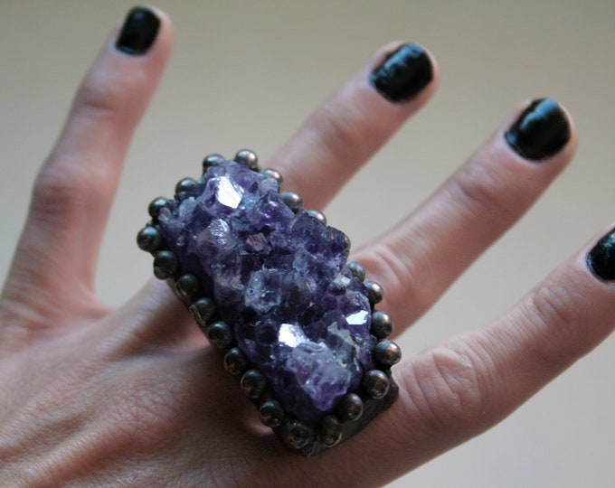 Massive Amethyst Cluster Crystal Ring // Purple Amethyst Crystal Adjustable Ring