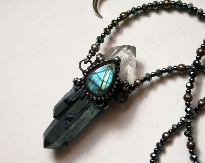 Blue Aura Quartz Cluster with Labradorite Necklace // Blue Crystal with Labradorite and Quartz Statement Necklace