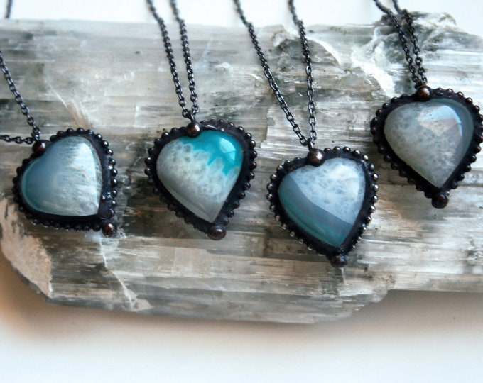 Aqua Agate Heart Crystal Necklace // Minimal Heart Shaped Teal Agate Layering Necklace // White Blue Agate Heart Valentine Necklace