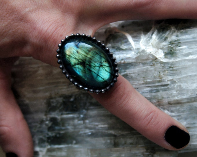 Blue Aqua Labradorite Ring // Blue Gold Rainbow Labradorite Round Adjustable Ring